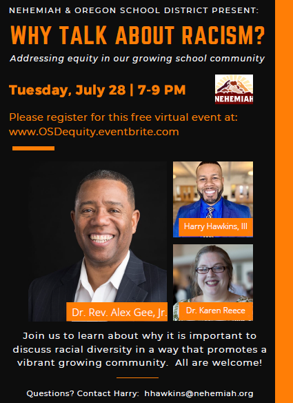 Why Talk About Racism Community Discussion: July 28, 7-9 PM
